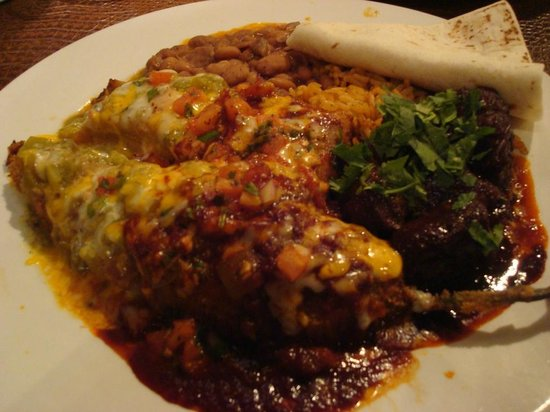 Blue Adobe Grille: Cruz Signature Dish, relleno, tamale, carne adovada, Blue Adobe Grill, Scottsdale, AZ