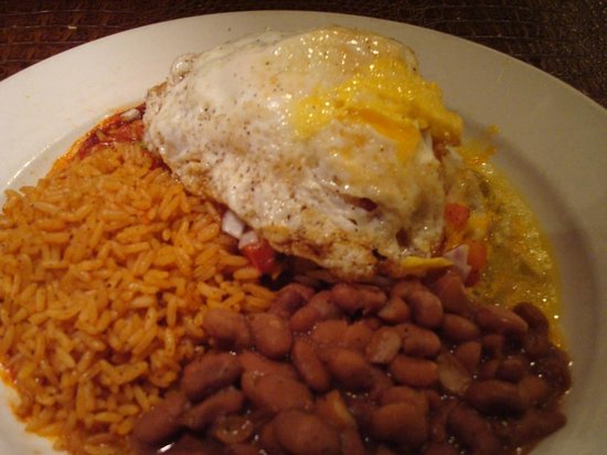 Blue Adobe Grille: Stacked Enchiladas with an egg on top, Blue Adobe Grill, Scottsdale, AZ