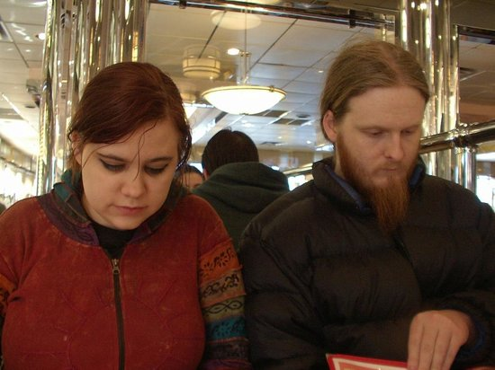 Tick Tock Diner: Krys and Travis look at the menu