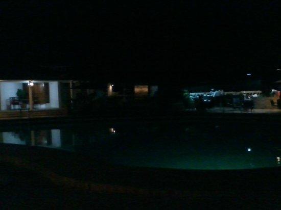 La Villa Creole: Swimming pool, night