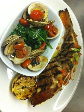 Ferro Bar & Cafe : Grilled and stuffed European Seabass served with manilla clams + spinach