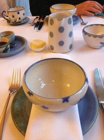 Boath House Hotel: pretty and local pottery at breakfast