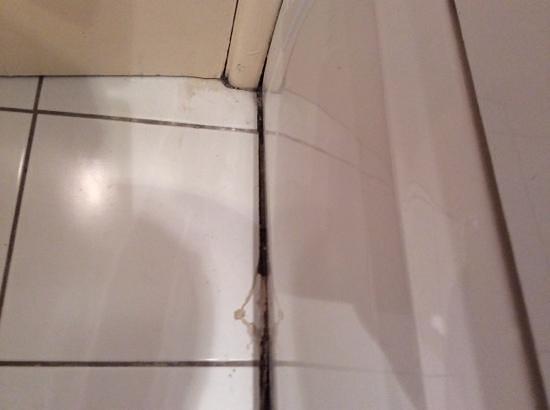Hermitage Park Hotel: bathroom floor - filthy gap running the length of bath