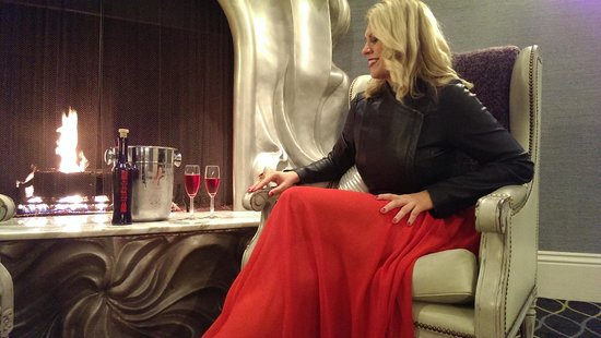 Sipping @DEFINEwines Exotic Red Rosé by the Galleria Park Hotel Fireplace