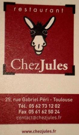 """La carte de visite de """"Chez Jules"""""""