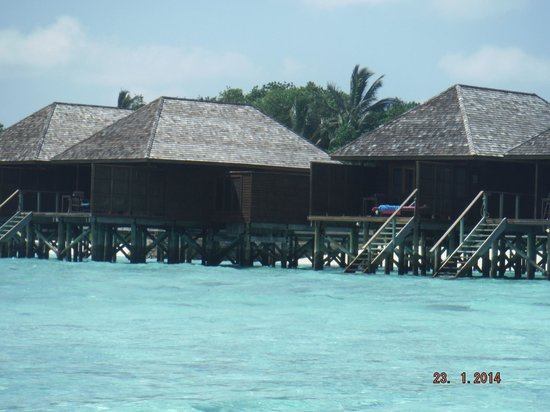 Veligandu Island Resort & Spa: View from the sea outside our room