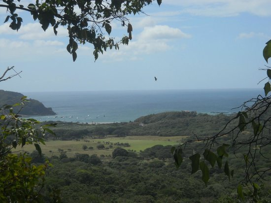 Da Flying Frog Canopy Tours: View of San Juan del Sur bay from the rappel start point.