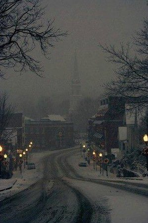 Camden Windward House: A half block away, looking down into town on a snowy evening.