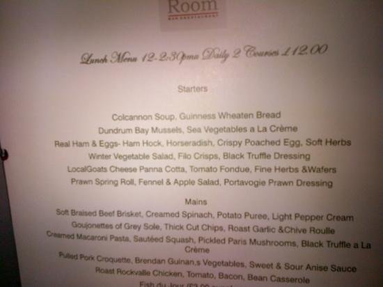Malt Room: menu