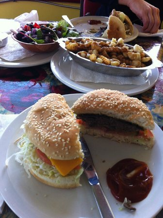 Bernie & The Boys Bistro: Cheese burger. Large Poutine, tossed salad
