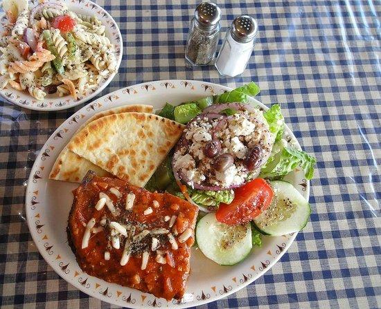 Alpha & Omega Greek Cuisine : Moussaka with greek pasta salad