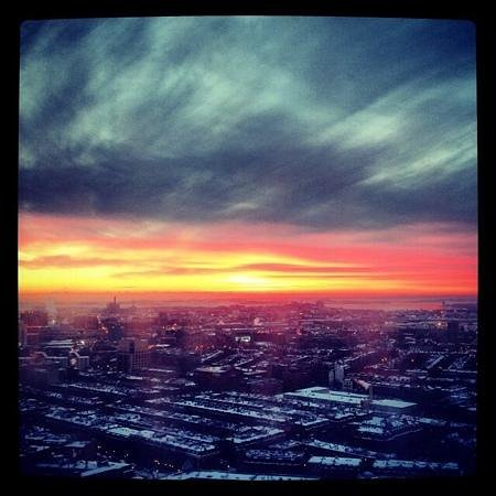 Polar Vortex Sunrise from Boston Marriott Copley Place