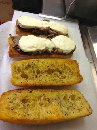 Grilled Cheese Mania: Casey Snowcap- Roast Beef & Fresh Mozzarella grilled into a garlic butter baguette.
