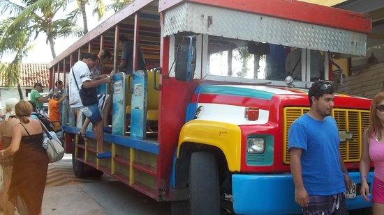 Sol Caribe Campo: Transporte en la chiva desde el Centro de San Andrés.