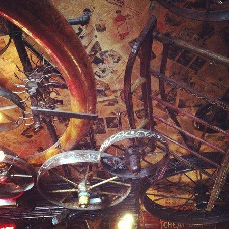 Fanny Ann's Saloon: The ceiling of the bottom floor.