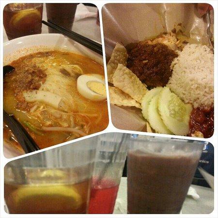 OldTown White Coffee: Prawn meehoon, rencang chicken rice, ice lemon tea, ice chocolate (reccommended) and mirinda