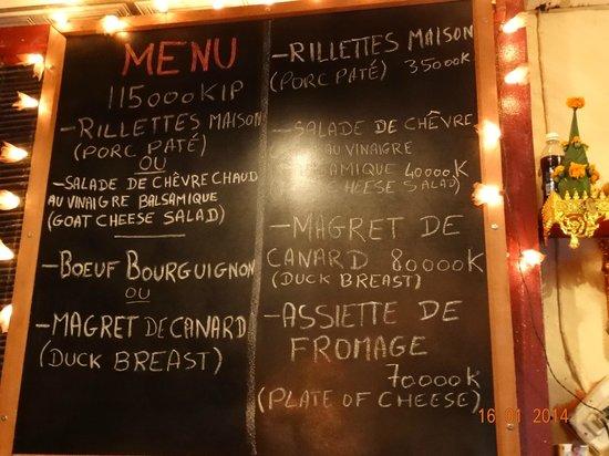 Le Café de Paris : Menu...avec un long trip...Excellent
