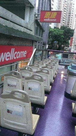 Rickshaw Sightseeing Bus: 2階席、開放感あり過ぎ。安全ベルトも何もなかったように思います。そういうのを気にする方には向かないかな?