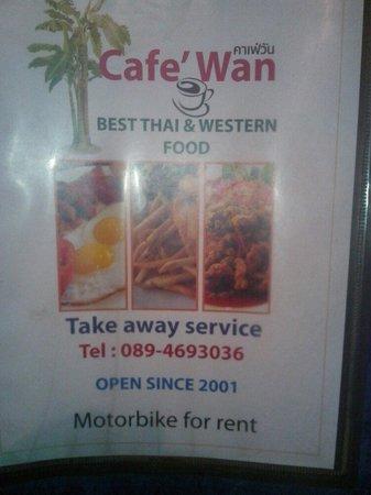 Cafe Wan: Menu cover