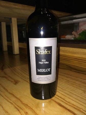 Nobu : A bottle of Shafer Merlot Very nice!!