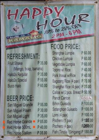 Atong Kamalig Chicken Inasal: pricelist happ hour