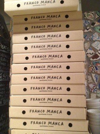 Franco Manca: Pizza boxes