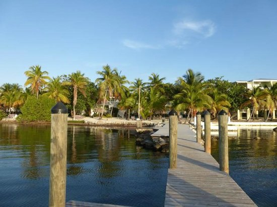 View of Lime Tree Bay Resort from the end of the dock