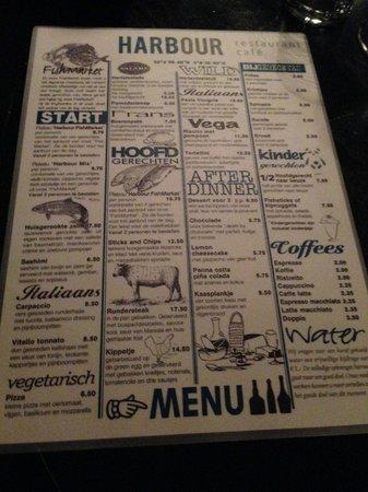 Harbour Restaurant: The menu