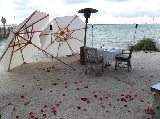 The Dining Room at Little Palm Island: Private Beach Dining