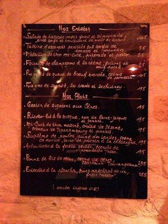 Comme a Savonnieres: regular menu