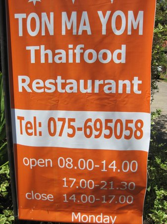 Ton Ma Yom Thai Food Restaurant: horarios
