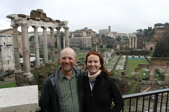 Italy Rome Tour: Brief pause in the rain for a photo overlooking the Forum