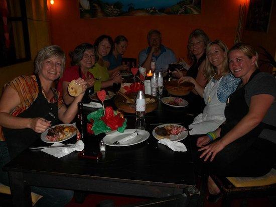 El Frijol Feliz Cooking School: Old and new friends enjoying our creations.