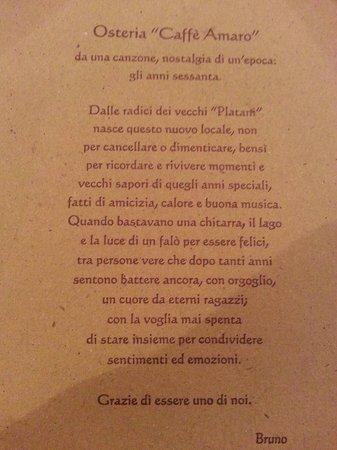Osteria Caffe Amaro: Complimenti per la presentazione!!