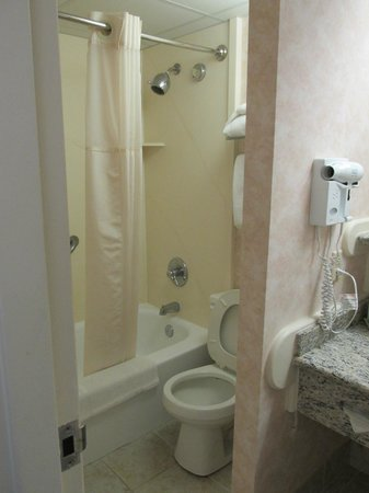 Clarion Resort Fontainebleau Hotel - Oceanfront: Small toilet and shower area