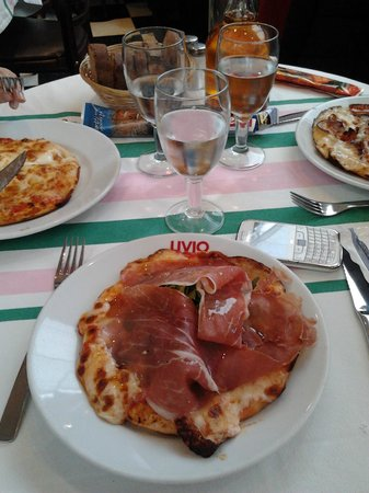 Livio : Trois pizzas, Essayez de voir la taille de la pizza par rapport à la table.
