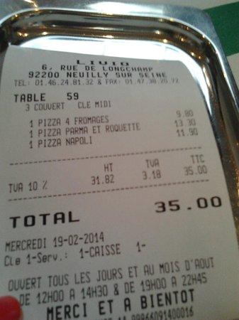 Chez Livio : L'addition: 35€ pour trois pizzas ignobles !!!!!!!!!!