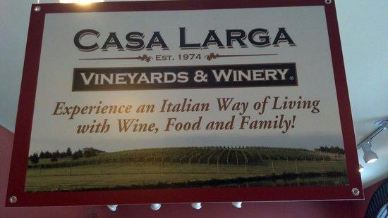 Casa Larga Vineyards: Sign in the gift shop!
