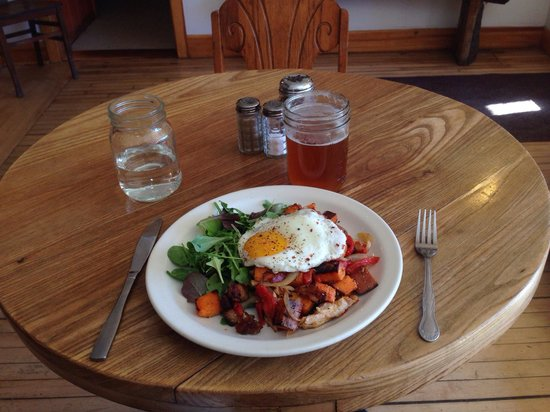 Driftless Cafe: Special of the day: Chicken and Sweet Potato Hash with a Fried Egg