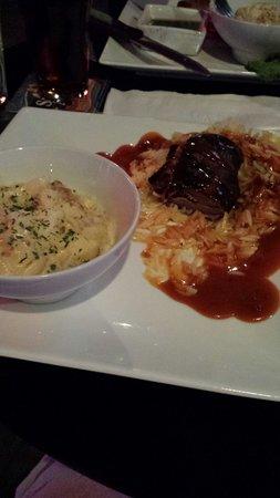 "101 Gastro Pub: Duck Cordon Bleu with Bacon Truffle Mac. Duck dry, tough and burnt; tasteless orzo + ""duck sauce"