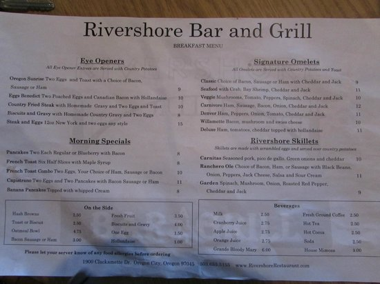 Best Western Plus Rivershore Hotel: Menu side 2
