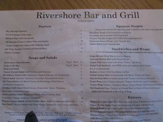 Best Western Plus Rivershore Hotel: Menu side 1