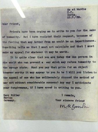 Mani Bhavan Gandhi Museum: Gandhi's personal plea to Hitler