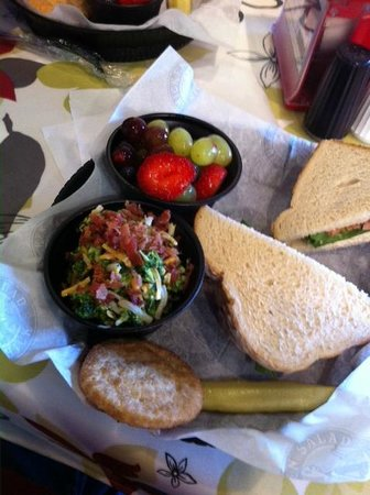 Chicken Salad Chick: Chicken Salad ala Sourdough bread.  Note the great looking fruit cup