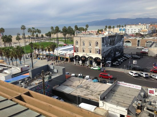 View of Venice beach from Hotel Erwin rooftop bar