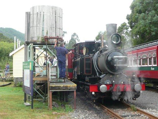 West Coast Wilderness Railway: taking water at Lynchford