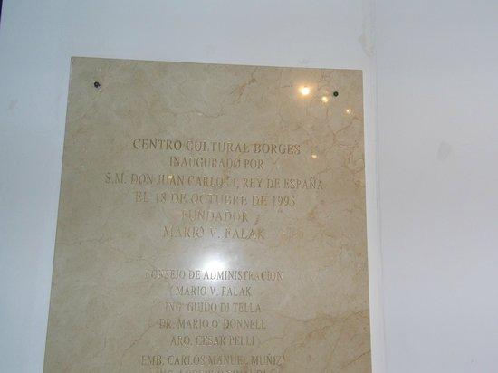 Centro Cultural Borges: Placa de inauguração