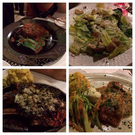 sahara restaurant: Clockwise - Crab cake, salad, salmon n veal