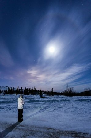 The Aurora Chasers by Ronn & Marketa Murray : Marketa's portrait of me and the moonbow we saw! Stunning