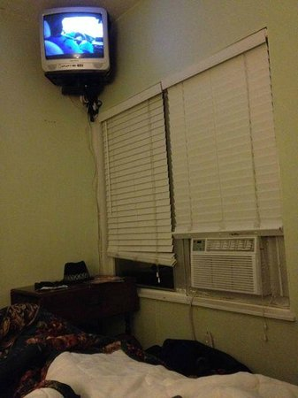 Coral House Hotel: view from the bed--tiny tv mounted to ceiling